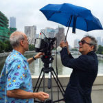 Carlos Ferrand and Nicola Zavaglia filming on the Wusong River