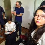 在上海采访周慧珍,从左至右:周慧珍、尼古拉·扎维格利亚、杨萍